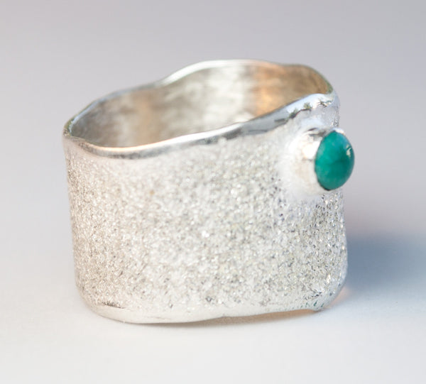 Turquoise stone Wide Silver Ring, Turquoise Solitaire Ring foster texture with 925 silver wide band made in Greece