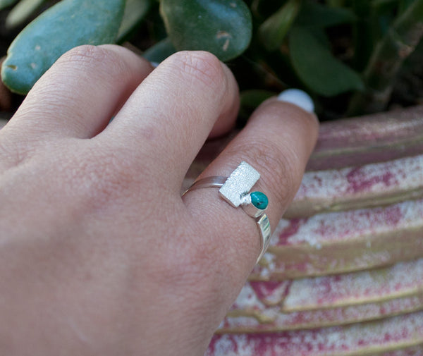 turquoise silver ring, geometric ring, turquoise stone ring, modern silver ring
