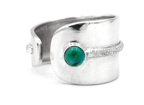 turquoise silver ring adjustable silver ring turquoise stone ring Santorini Ring