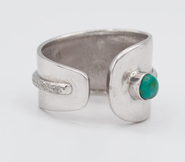 handmade turquoise wide silver ring -  turquoise solitaire ring - blue green stone ring