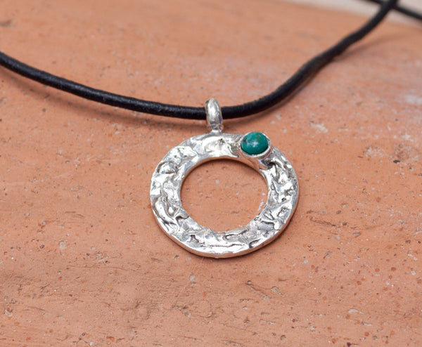 turquoise silver pendant, turquoise circle pendant, geometric circle pendant, turquoise stone pendant
