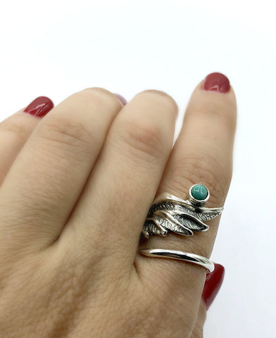 wing ring, angel ring, angel wing ring, turquoise ring adjustable ring