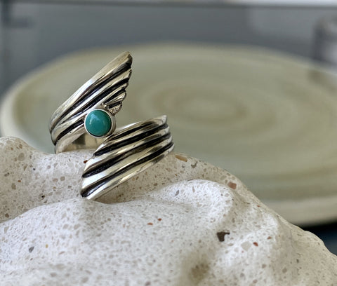 turquoise gemstone ring silver, adjustable silver ring