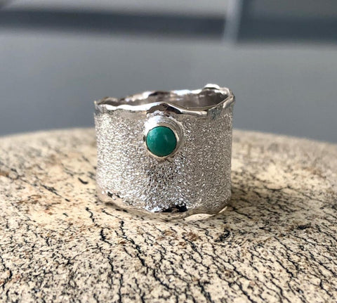 Turquoise silver ring, wide silver ring, handmade silver ring