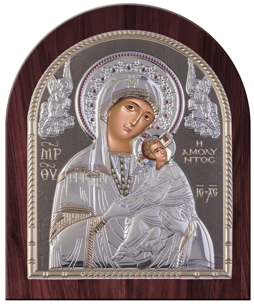 Virgin Mary Amolyntos Greek Orthodox Silver Icon, Grey Byzantine religious icon