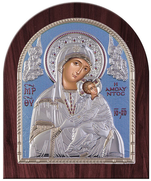 Virgin Mary Amolyntos Greek Orthodox Silver Icon, Blue Ciel 20x24.5cm