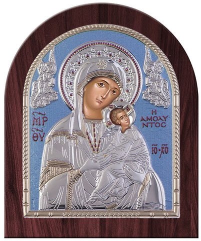 Virgin Mary Amolyntos Byzantine Greek Silver Icon Orthodox Religious - Made in Greece