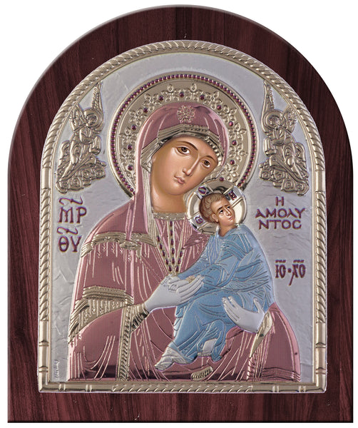 Virgin Mary Amolyntos Greek Orthodox Silver Icon, Red & Blue Byzantine religious icon