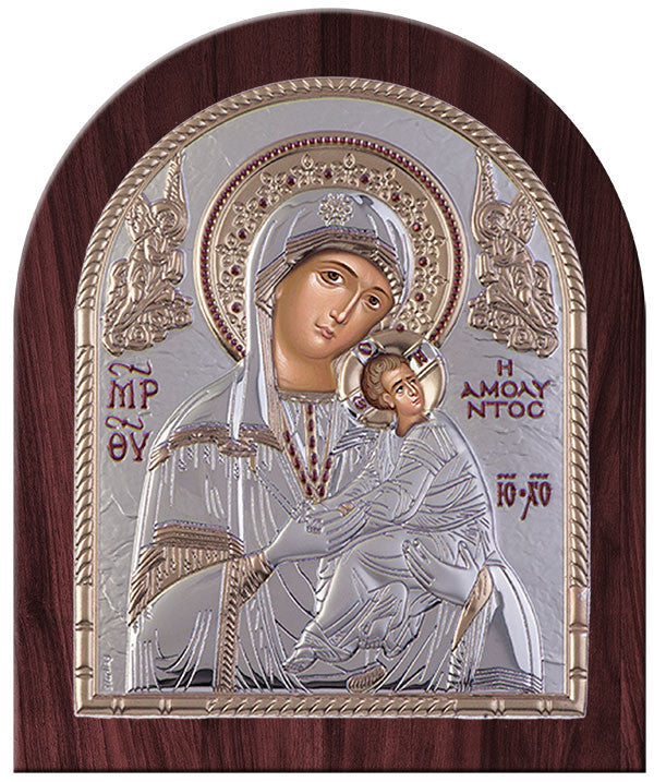 Virgin Mary Amolyntos Greek Orthodox Silver Icon, Silver 20x24.5cm