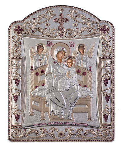 Virgin Mary Pantanassa Greek Christian Orthodox Silver Icon Silver