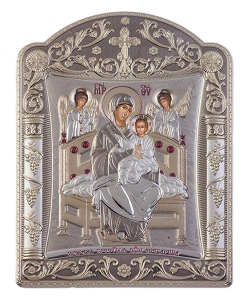 Virgin Mary Pantanassa Greek Christian Orthodox Silver Icon Grey