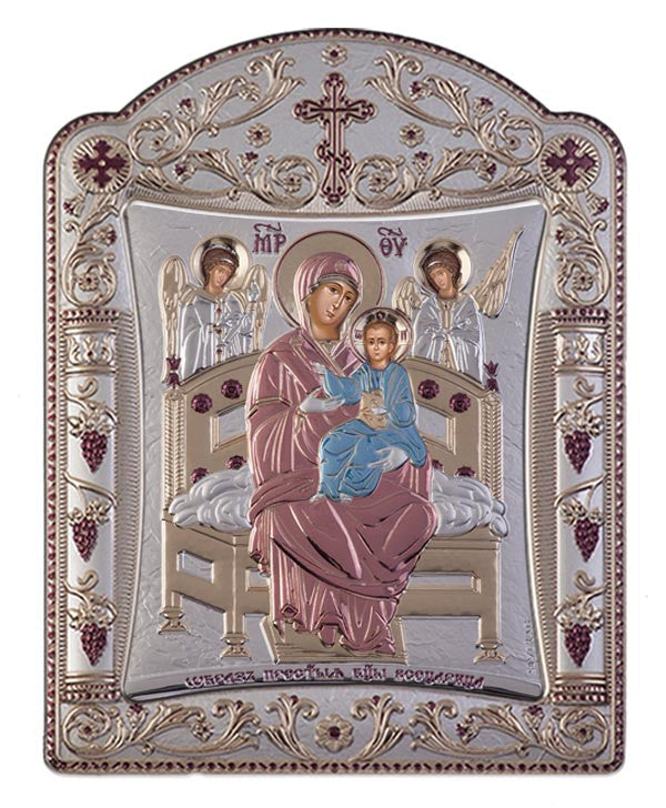 Virgin Mary Pantanassa - Greek Christian Orthodox Silver Icon, Red & Blue