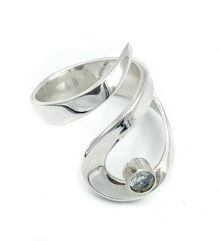 zircon silver adjustable ring, drop shape silver ring, contemporary silver ring
