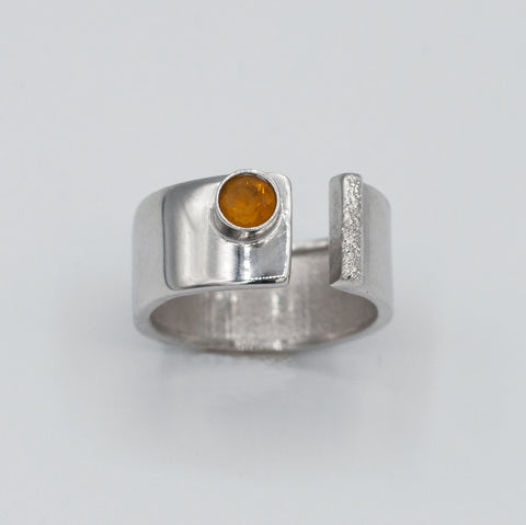 Citrine silver ring adjustable November birthstone yellow stone ring - Handmade with love from Greece