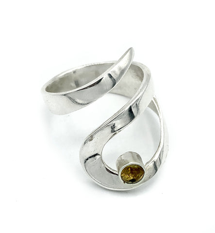 citrine silver adjustable ring, drop shape silver ring, contemporary silver ring