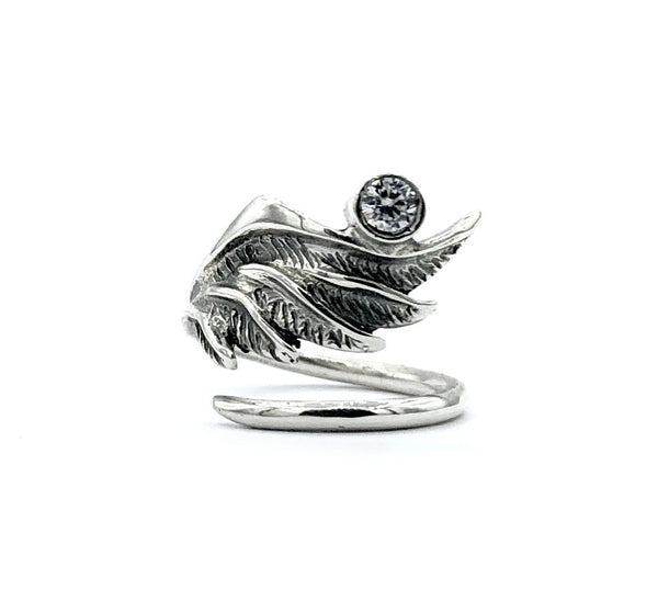 angel ring, angel wing ring, zircon ring