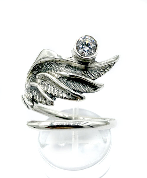 wing ring, silver ring, zircon ring, silver adjustable ring, archangel ring
