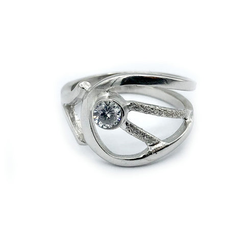 zircon ring, clear stone ring, modern silver ring