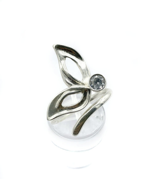 flower ring, zircon silver ring, one size fits all ring, modern ring