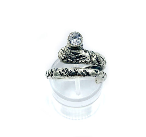 zircon ring, snake ring, clear stone ring, modern silver ring