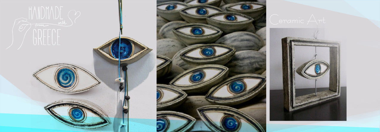 ceramic wall art evil eye collection