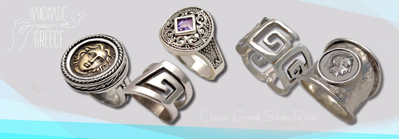 hammered silver rings - greek rings