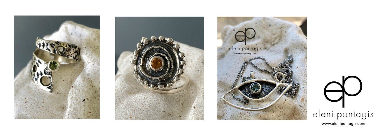 handmade greek jewelry hammered silver rings