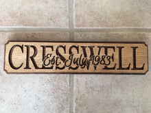 Name Established Plaques - Back Door Wood Shop