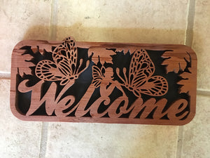 Butterfly Fairy Welcome Sign - Back Door Wood Shop