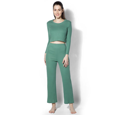 Gypsy Ribbed Lounge Pants Green-T-Shirt-Silvertraq-Silvertraq