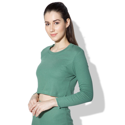 Gypsy Ribbed Lounge Top Green-T-Shirt-Silvertraq-Silvertraq