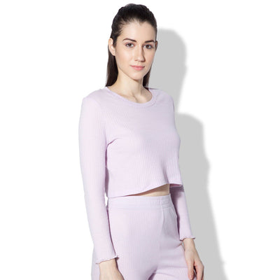 Gypsy Ribbed Lounge Top Lilac-T-Shirt-Silvertraq-Silvertraq