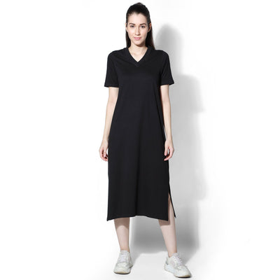 Petra V Neck Dress Black-Dress-Silvertraq-Silvertraq