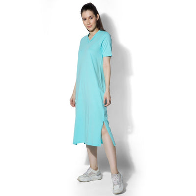Petra V Neck Dress Pale Turquoise-T-Shirt-Silvertraq-Silvertraq