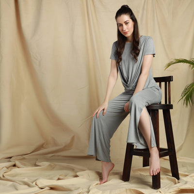Modal Lounge Pants Grey Melange-Pants-Silvertraq-Silvertraq