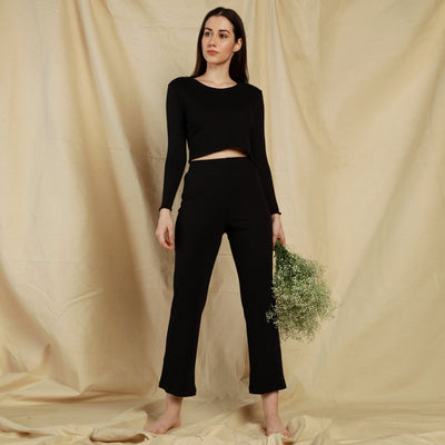Gypsy Ribbed Lounge Pants Black-T-Shirt-Silvertraq-Black-XS-Silvertraq