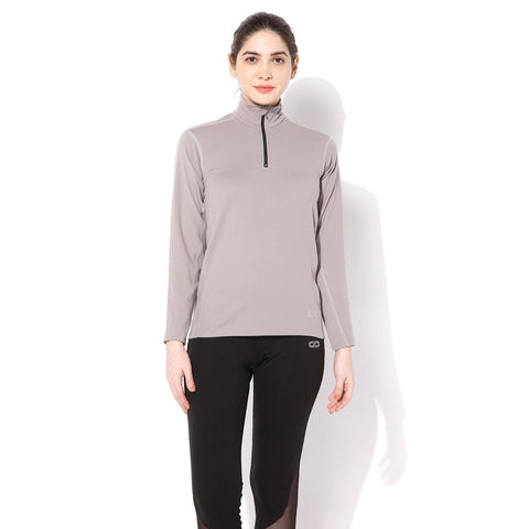 Women's Fitted Long Sleeve Roll Shirt Opal Grey-Roll Shirt-Silvertraq-Silvertraq