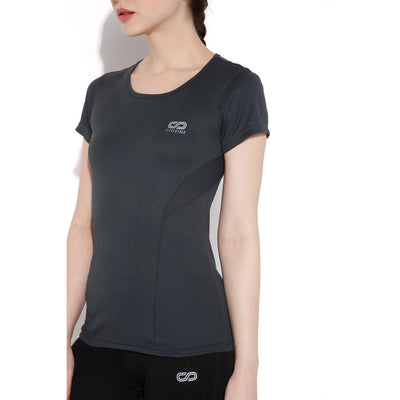 Women's Contour Training Tee Dark Grey-T-Shirt-Silvertraq-Silvertraq