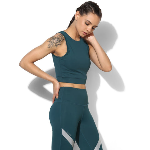 Padded Cross Back Crop Top Teal-Top-Silvertraq-Silvertraq