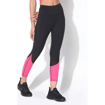 "Crescent Leggings Black Pink-Sports Leggings HWC-Silvertraq-Black Vivid Pink-S - 26 - 28""-Silvertraq"