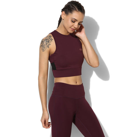 Padded Moto Crop Tee Plum-Top-Silvertraq-Silvertraq