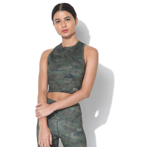 Padded Moto Crop Tee Army Camo-Top-Silvertraq-Silvertraq