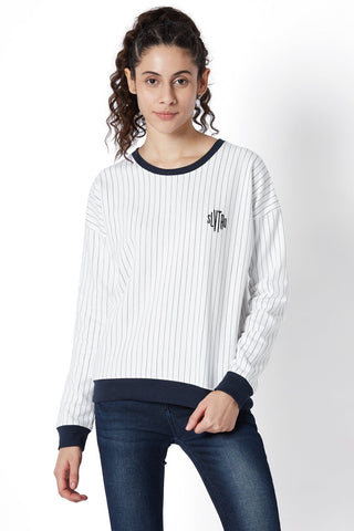 Baseball Stripe Sweat Shirt-Lounge Sweat Shirt-Silvertraq-Silvertraq
