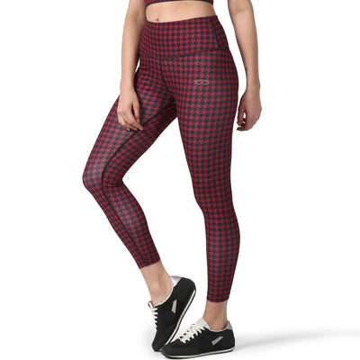 Houndstooth Leggings Red-Leggings-Silvertraq-Houndstooth Red-S-Silvertraq