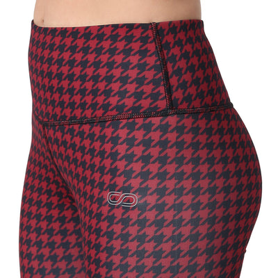 Houndstooth Leggings Red-Leggings-Silvertraq-Silvertraq