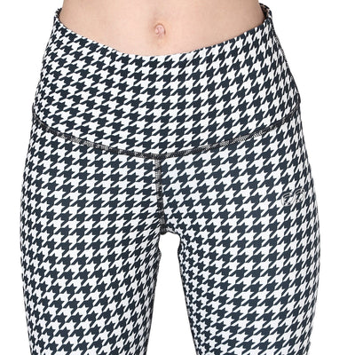 Houndstooth Leggings White-Leggings-Silvertraq-Silvertraq