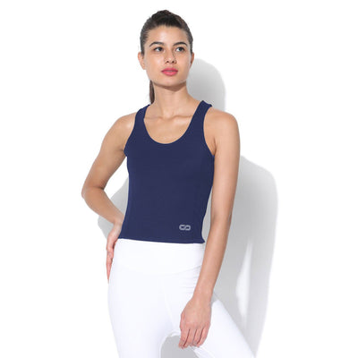 Performance Crop Tank Top Navy-Top-Silvertraq-Silvertraq