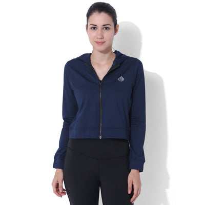 Cropped Bomber Hoodie Navy-Sports Jacket-Silvertraq-Navy-XS-Silvertraq