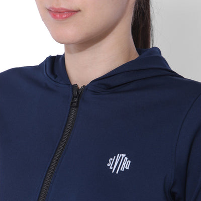 Cropped Bomber Hoodie Navy-Sports Jacket-Silvertraq-Silvertraq