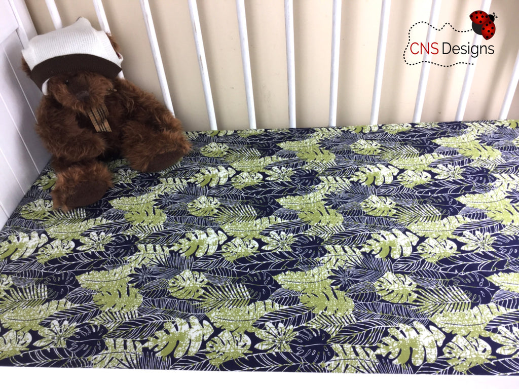 Leaves Green & Navy Cot Fitted Sheet